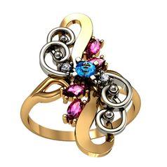 дизайнерское женское кольцо со вставками