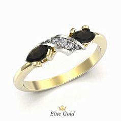 кольцо Joanne в лимонном и белом золоте с черными и белыми камнями