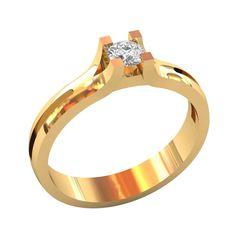 женское кольцо солитер с высокой площадкой