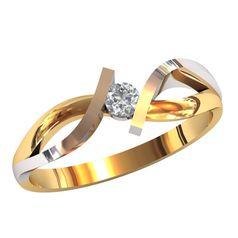 Женское изящное кольцо с центральным камнем