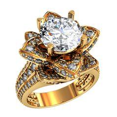 кольцо-цветок в красном золоте с белыми камнями