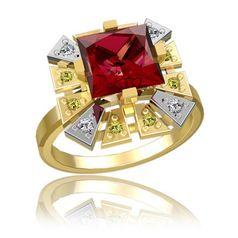 кольцо Quest в двух цветах золота с красным камнем в центре