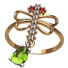 женское кольцо в форме стрекозы