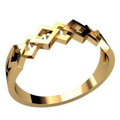 женское кольцо с узором сеточкой