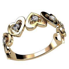 кольцо женское в виде сердечек