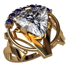 женское кольцо с большим камнем