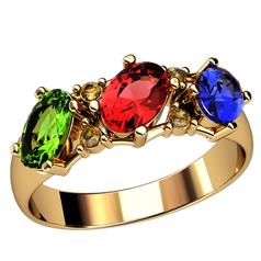кольцо Enola с разноцветными камнями