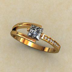 женское кольцо с квадратным камнем
