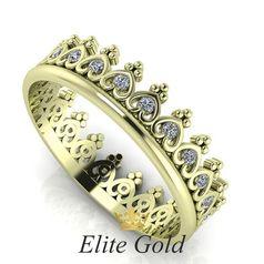 кольцо Tiara в лимонном золоте