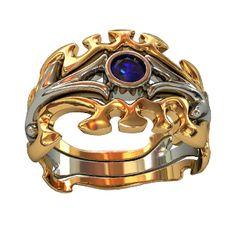 кольцо Fantasy Land в красном и белом золоте