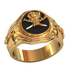 кольцо с пиратским черепом в красном золоте