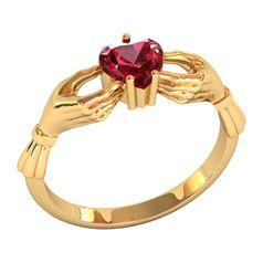 кольцо Heart с красным камнем