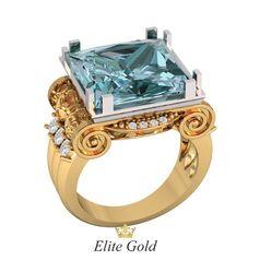 мужской перстень в красном золоте с голубым камнем