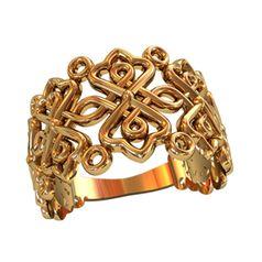 женское широкое кольцо с узорами