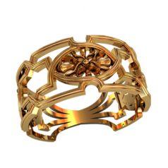 кольцо узорное широкое в красном золоте