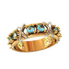 кольцо Clara с голубыми камнями в красном и белом золоте