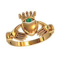 кольцо Kalea в красномзолоте с зеленым камнем