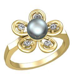 женское кольцо в виде цветка с жемчугом