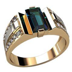 мужское популярное кольцо с камнем по центру