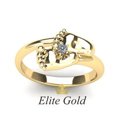 кольцо в виде детских пяточек
