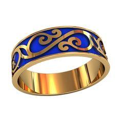кольцо в красном золоте с синей эмалью