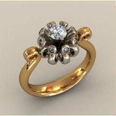кольцо Lake Flower в двух цветах золота