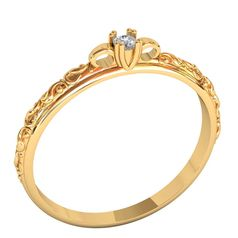 кольцо Axara в красном золоте с белым камнем