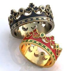 кольца-короны с красной, черной и зеленой эмалью