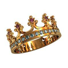 кольцо корона с камнями в коронках и по ободку