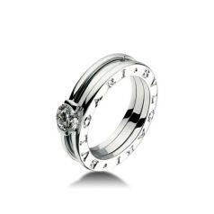 помолвочное кольцо в стиле бренда Булгари в белом золоте
