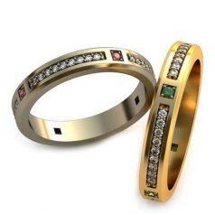 Авторские обручальные кольца Elvira в камнях