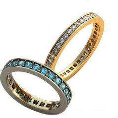 Авторские обручальные кольца в камнях по ободку