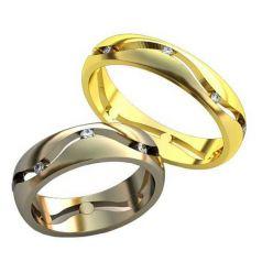 Авторские обручальные кольца с прорезями и камнями