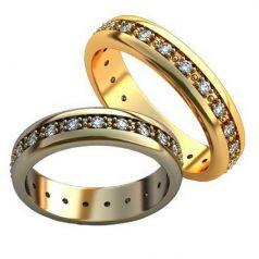 Авторские обручальные кольца с камнями по ободку