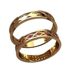 обручальные кольца с красными камнями