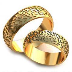 Авторские рельефные обручальные кольца