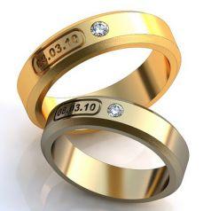 Авторские обручальные кольца с датой и камнем