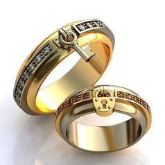 обручальные кольца ключ и замок