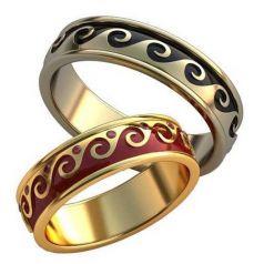 Авторские обручальные кольца с эмалью
