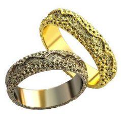 Авторские рельефные обручальные кольца Ellmira