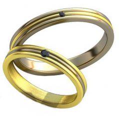 Авторские обручальные рельефные кольца с камнями