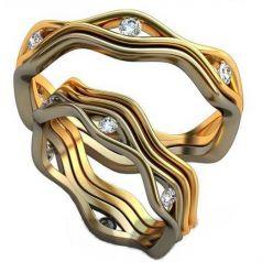 Авторские волнистые обручальные кольца с камнями