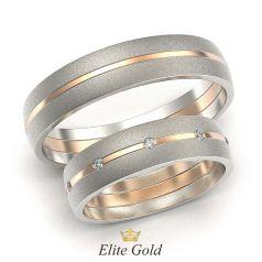 матированные обручальные кольца с камнями