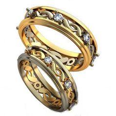 обручальные кольца с узорами и камнями