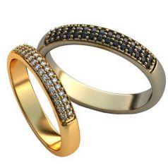 Классические обручальные кольца с россыпью камней спереди