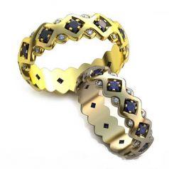 Авторские обручальные кольца в камнях Piero