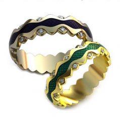 Авторские обручальные кольца Suzy с эмалью