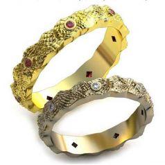 Авторские обручальные рельефные кольца Saily