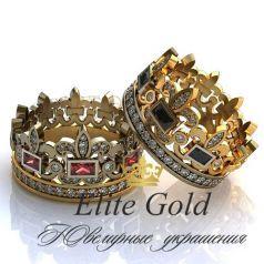 Авторские обручальные кольца-короны Queen усыпанные камнями