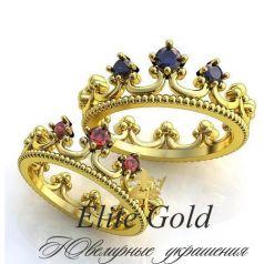 Авторские обручальные кольца Корона в камнях